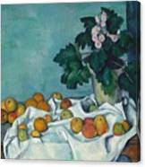 Still Life With Apples And A Pot Of Primroses Canvas Print