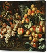 Still Life With Apples And Grapes Canvas Print