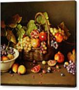 Still Life With Basket And Pomegranate Canvas Print