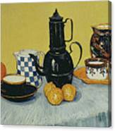 Still Life With Blue Enamel Coffeepot, Earthenware And Fruit, 1888 Canvas Print