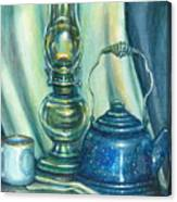 Still Life With Blue Tea Kettle Canvas Print