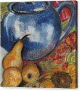 Still Life With Blue Teapot One Canvas Print