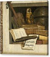 Still Life With Books Sheet Music Violin Celestial Globe And An Owl Canvas Print