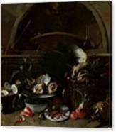 Still Life With Bottles And Oysters Canvas Print