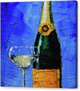 Still Life With Champagne Bottle And Glass Canvas Print