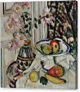 Still Life With Daisies And Fruit Canvas Print