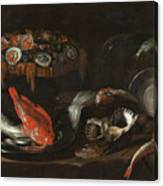 Still Life With Fish And Oysters  Canvas Print