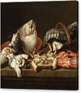 Still Life With Fishes, A Crab And Oysters Canvas Print