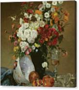 Still Life With Flowers And Pomegranates Canvas Print