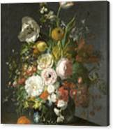 Still Life With Flowers In A Glass Vase Canvas Print