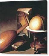 Still Life With Globe Lute And Books Canvas Print