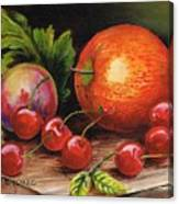 Still Life With Peaches And Cherries  Canvas Print