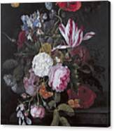 Still Life With Peonies Roses Irises Poppies And A Tulip With Butterflies A Dragonfly And Other Inse Canvas Print