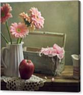 Still Life With Pink Gerberas And Red Apple Canvas Print
