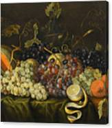 Still Life With Red Black And Green Grapes Canvas Print
