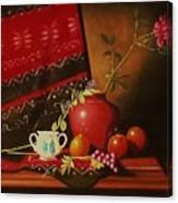 Still Life With Red Vase. Canvas Print