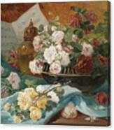 Still Life With Roses In A Cup Ornamental Object And Score Canvas Print