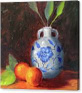Still Life With Vase And Fruit Canvas Print