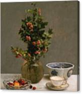 Still Life With Vase Of Hawthorn, Bowl Of Cherries, Japanese Bowl, And Cup And Saucer 1872 Canvas Print