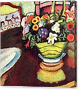 Still Life With Venison And Ostrich Pillow By August Macke Canvas Print