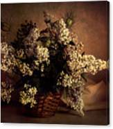 Still Life With White Flowers In The Basket Canvas Print