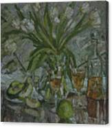 Still Life With White Tulips Canvas Print
