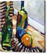Still Life With Wine Bottles Canvas Print