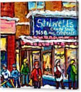 Stilwell's Candy Shop Montreal Memories Lasalle Verdun Winter City Scene Hockey Art Carole Spandau   Canvas Print