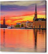 Stockholm Fiery Sunset Reflection Canvas Print