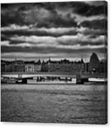 Stockholm In Black And White Canvas Print