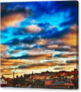 Stockholm In Bold Colors Canvas Print
