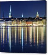 Stockholm Old City Magic Quartet Reflection In The Baltic Sea Canvas Print