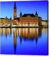 Stockholm Riddarholmen Blue Hour Reflection Canvas Print