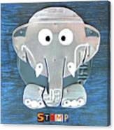 Stomp The Elephant Recycled License Plate Animal Art Canvas Print