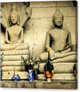 Stone And Flowers - Buddhist Shrine Canvas Print