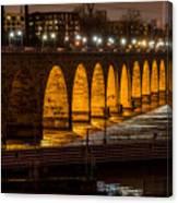 Stone Arch Bridge Night Shot Canvas Print
