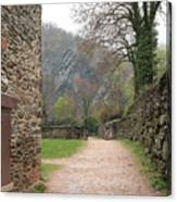 Stone Building Wall And Fence Canvas Print