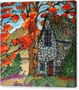 Stone Cottage Silk Painting Canvas Print