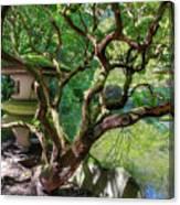 Stone Lantern By Upper Pond Canvas Print