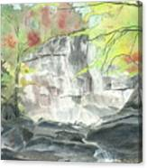 Stone Mountain Falls - The Upper Cascade - IIi - Autumn Canvas Print