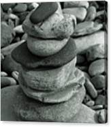 Stones Still Life Monochrome Canvas Print
