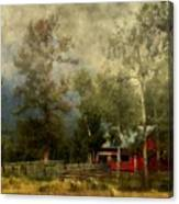 Storm Approaching White Birch Cottage Canvas Print