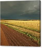 Storm Clouds Along A Saskatchewan Country Road Canvas Print