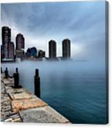 Storm Clouds And Fog Approaching Downtown Boston Massachusetts.  Canvas Print