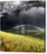 Storm Clouds And Rainbow Over Chaplin Lake Marshes Canvas Print