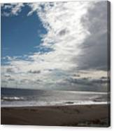 Storm Clouds Clearing The Beach With Wind Farm In The Background Skegness Lincolnshire England Canvas Print