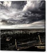 Storm Clouds Over Beached Shipwreck Canvas Print