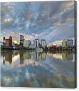 Storm Clouds Over Portland Skyline During Sunset Canvas Print