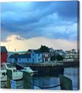 Storm Clouds Over Rockport Harbor Canvas Print