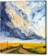Storm Over The Country Road Canvas Print
